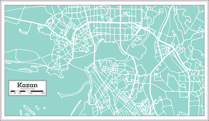 Kazan Russia City Map in Retro Style. Outline Map.