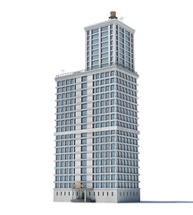 3d rendering of a white high office building with many large windows.