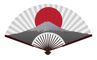 Ancient Traditional Japanese fan with The Fujiyama And The Japanese Flag, Cheering