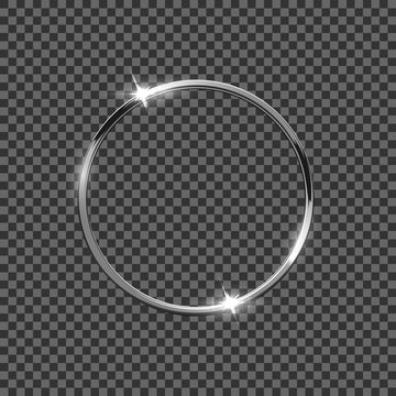 Silver ring isolated on transparent background. Vector design element.