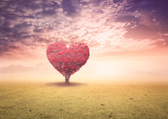 World health day concept: Red heart of big tree on spring meadow mountain background