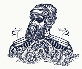 Biker tattoo. Bearded hipster in earphone listens to music. Symbol of pop music, hard rock, heavy metal, biker t-shirt design