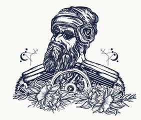 Biker tattoo. Bearded hipster in earphone listens to music. Symbol of pop music, hard rock, heavy metal, biker t-shirt design