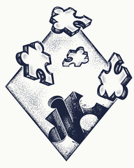 Missing jigsaw puzzle tattoo and t-shirt design.  Symbol of education, business, solution of tasks, communications, psychology. Puzzle tattoo art