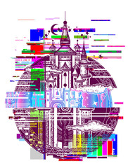 Medieval castle glitch tattoo art. Symbol of the fairy tale, dream, magic. Medieval castle t-shirt design. Glitch art