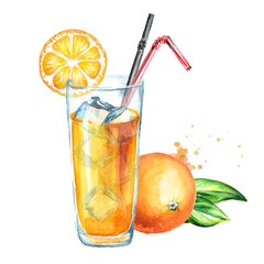 Glass of orange juice with ice cubes. Watercolor hand drawn illustration, isolated on white background