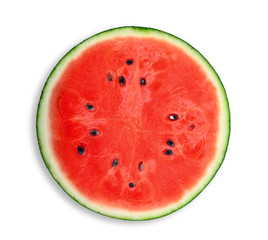 half of fresh watermelon isolated on white background, flat lay, top view