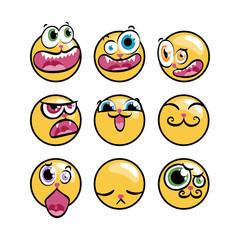 Set of expression emoticons. Set of kawaii emoji.
