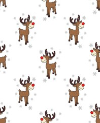 Reindeer cartoon christmas snow flake vector seamless pattern