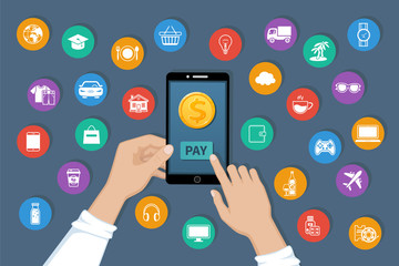 Online payment. Pay for goods and services by mobile app service. Payment service international transfers on the phone screen. Hands holding a phone with a dollar gold coin. Vector illustration
