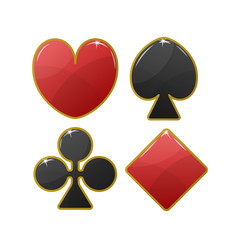 Playing card black and red suit icon with golden stroke. Hearts, Tiles Diamonds , Clovers Clubs , Pikes Spades . Vector illustration.