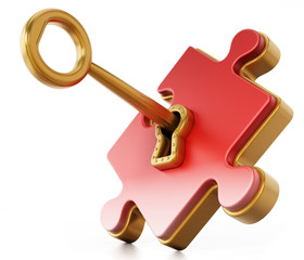 Golden key unlocking red puzzle piece. 3D illustration