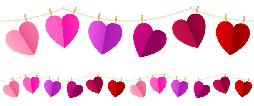 Vector illustration of colorful hearts strung along a clothesline. String can be joined end to end seamlessly to create longer strings.