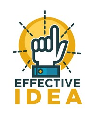 Effective idea promotional emblem with hand and bulb