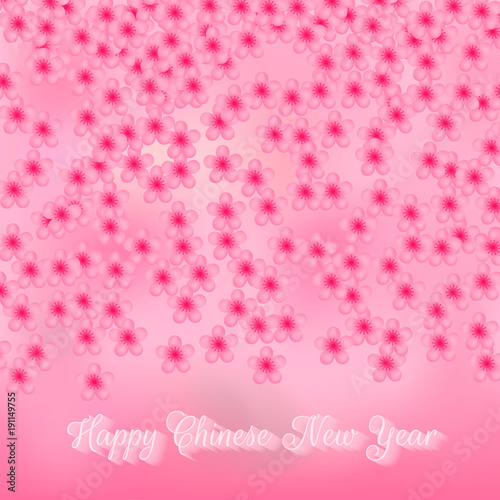 chinese new year greeting card with cherry blossom confetti on pink gradient background floral backdrop