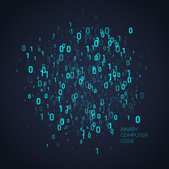 Abstract background with binary code. Analysis and data transfer.