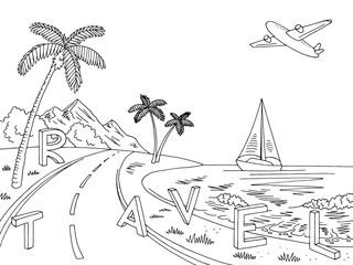 Travel graphic sea coast road black white landscape sketch illustration vector