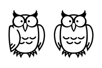 Funny owls, hand drawn vector illustration in comic style, isolated on white.