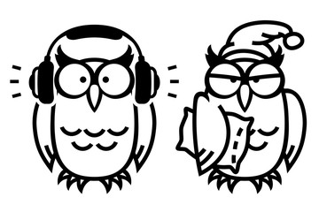 Funny owls: owl listening to music and sleepy owl in night cap, hand drawn vector illustration in comic style, isolated on white.
