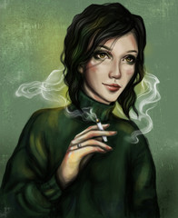 A smoking girl with a cigarette in her hand. Girl in a green sweater