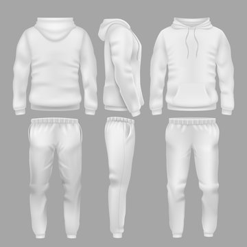 White hooded sweatshirt with sports trousers. Active sport wear hoodie and pants vector templates
