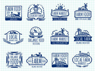 Ballpoint pen doodle farm and organic food vector labels on notebook page