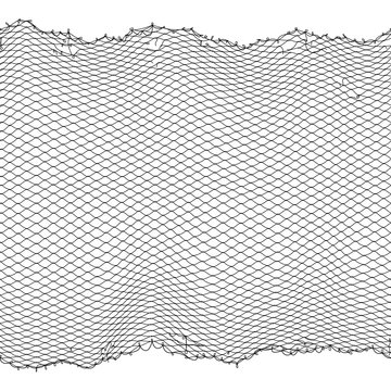 Black fisherman rope net vector seamless texture isolated on white