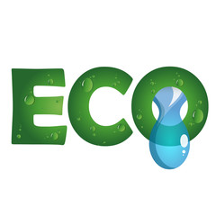 Eco symbol with a drop of water