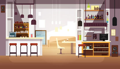 Modern empty bar or coffee shop vector flat interior