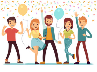 Laughing and dancing young people at party. Happy men and women celebrate important event. Vector illustration