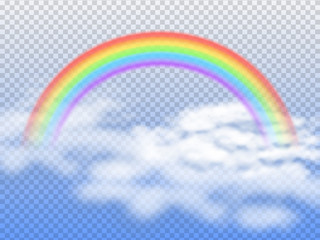 Rainbow arc with white clouds in blue sky 3d vector illustration