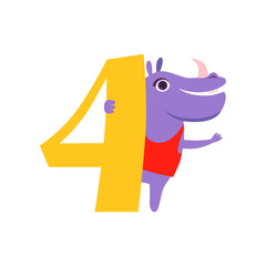 Funny cute hippo animal and number four, birthday anniversary, learn to count concept cartoon vector Illustration