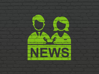 News concept: Painted green Anchorman icon on Black Brick wall background