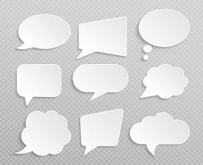 White blank retro speech bubbles isolated vector set