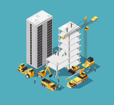 Building construction vector 3d isometric concept with builders and heavy equipment. House construction site background