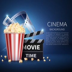 Cinema 3d movie vector background with popcorn and vintage film. Retro cinema poster