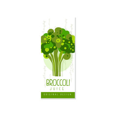 Original label template with green broccoli. Fresh drink from organic vegetable. Vegetarian beverage. Hand drawn vector design for juice packaging