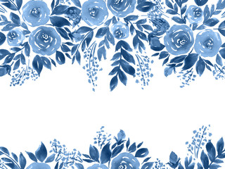 Watercolor roses greeting card. Hand painted floral composition in indigo blue