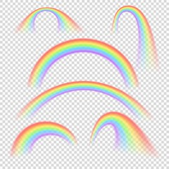 Summer realistic rainbow arches isolated vector set