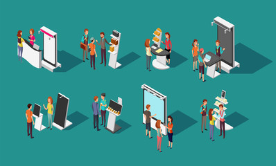 People standing at expo promotional stands vector 3d isometric set Wall mural