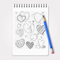 Hand drawn hearts set with realistic pencil and notebook