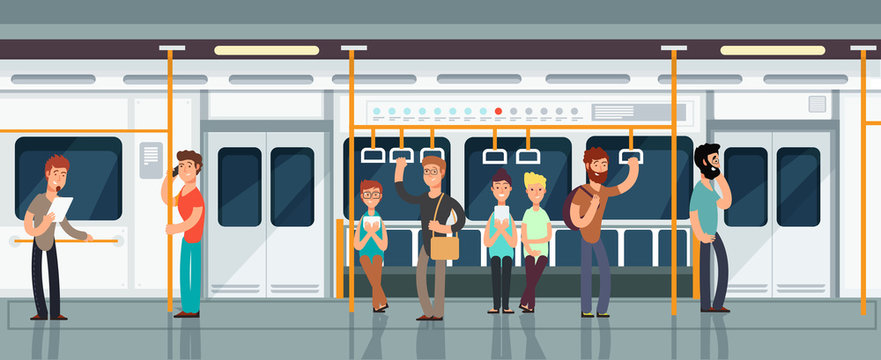 Modern subway passenger carriage interior with people vector illustration