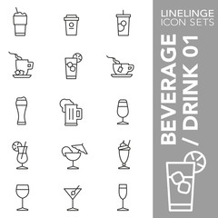 High quality thin line icons of beverages, drinks and coffee. Linelinge are the best pictogram pack unique linear design for all dimensions and devices. Stroke vector logo symbol and website content.