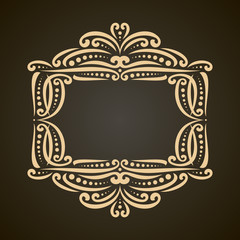 Vector decorative golden frame on dark, ornate decoration with flourishes for wedding invitation, vintage filigree border with curls and dots, ornament with sophisticated victorian design elements.