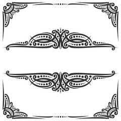 Vector decorative black frames on white, ornate decoration with flourishes for wedding invitation, vintage filigree dividers with curls and dots, border with sophisticated victorian design elements.