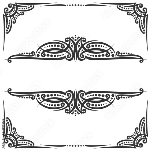 Vector decorative black frames on white ornate decoration with vector decorative black frames on white ornate decoration with flourishes for wedding invitation vintage stopboris Image collections