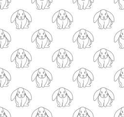 Cute White Rabbit Seamless Background.