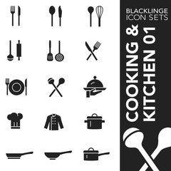 High quality black and white icons of cooking, kitchen and food. Blacklinge are the best pictogram pack unique design for all dimensions and devices. Vector graphic logo symbol and website content