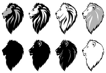 stylized lion head for your design, vector illustration, isolated objects