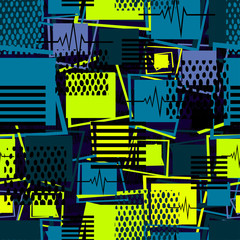 Abstract seamless sport pattern for girls, boys, clothes. Creative sport vector background with square, stripes, dots, lines. Funny wallpaper for textile and fabric. Fashion sport square style.